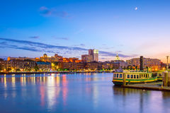 Historic District waterfront of Savannah, Georgia. USA at twilight Royalty Free Stock Photos