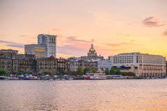 Historic District waterfront of Savannah, Georgia Royalty Free Stock Images