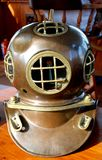 Historic Divers Helmet. Image of historical divers helmet on a boat Royalty Free Stock Photos