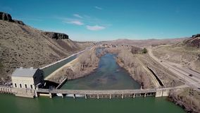 Historic Diversion Dam near Boise Idaho stock footage