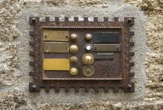 Historic doorbell plate Stock Photography