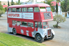 Historic double-decker bus at Matjiesfontein Stock Photos
