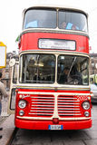 The historic Double-Decker Bus  in Turin. Turin, Italy - December 7, 2014 : The historic Double-Decker Bus in Castello Square for Turin Trolley Festival Royalty Free Stock Image