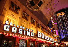 Historic downtown, Fremont Street Las Vegas. The historic downtown Fremont Street Experience and Golden Gate & Plaza casinos are shown Royalty Free Stock Photography