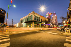 Historic Downtown Mobile, Alabama during an Evening Blue Hour Stock Images