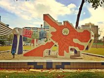 Historic dragon playground in Singapore. Empty children's playground comprising big dragon and small horse in Toa Payoh housing estate Royalty Free Stock Images