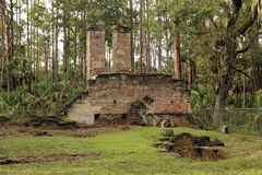 Dummett Plantation Ruins. Historic Dummett Plantation Ruins, a former Sugar and Rum Processing Factory in the State of Florida Stock Image