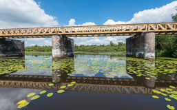 Historic Dutch Bridge reflected Royalty Free Stock Images