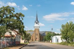 Historic Dutch Reformed Church in Wepener in the Free State. WEPENER, SOUTH AFRICA - APRIL 1, 2018: A street scene with the historic Dutch Reformed Church in Stock Photo