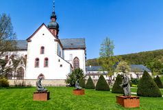 Historic Eberbach Abbey, Mystic heritage of the Cistercian monks in Rheingau, filming location for the movie The Name of the Rose,. One of the most impressive royalty free stock photos