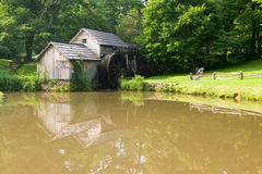 Historic Edwin B. Mabry Grist Mill (Mabry Mill) in rural Virginia on Blue Ridge Parkway and reflection on pond in summer Royalty Free Stock Photo