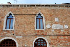 Historic and elegant building in Burano in the municipality of Venice in Italy Stock Photo