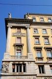 Historic and elegant building with six columns of Trieste in Friuli Venezia Giulia (Italy) Stock Image