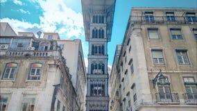Historic elevator Santa Justa, lift in Lisbon stock video footage