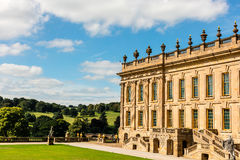 Historic English Stately Home in Derbyshire. CHATSWORTH, UK - SEPTEMBER 1, 2016: Chatsworth House (in the Peak District, England), home of the Duke and Duchess stock photo