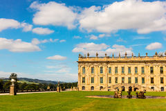 Historic English Stately Home in Derbyshire. CHATSWORTH, UK - SEPTEMBER 1, 2016: Chatsworth House (in the Peak District, England), home of the Duke and Duchess Stock Image