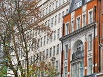 Historic English town. Architectural detail of a building in the center of London royalty free stock photo