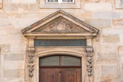 Historic entrance portal made of sandstone in the old town of Bayreuth Royalty Free Stock Image
