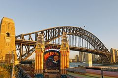 Luna Park Entrance and the Sydney Harbour Bridge, , Sydney, Australia Royalty Free Stock Image