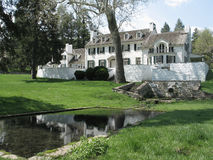 Historic estate in Valley Forge, PA. With pond in foreground Stock Images