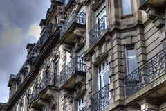 Historic European building. Low angle exterior facade of modern building, Strasbourg city, France Royalty Free Stock Photo