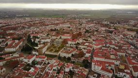 Historic city of Evora with white houses and red roofs, Portugal stock footage