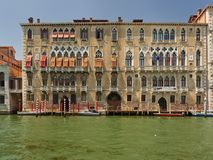 Ca` Foscari University, Grand Canal, Venice, Italy. The historic exterior Gothic facade of part of the Ca` Foscari University, Dorsoduro, Grand Canal, Venice Stock Photography