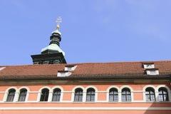 Historic facade Graz. Image of a red historic facade in town Graz, Austria Stock Photo