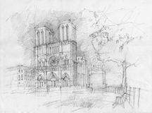 Historic facade of Notre dame. Pencil drawing of the historic facade of Notre dame, Paris Royalty Free Stock Photo