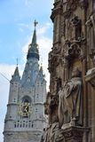 Historic Facade ornamented with statues. GHENT, BELGIUM: historic Facade ornamented with statues and shapes  in the beautiful city of Ghent Stock Images
