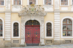 Historic facade with red door Royalty Free Stock Photos