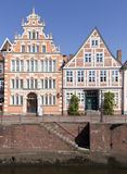 Historic facades at the old town of Stade. Baroque and medieval facades at the old town of Stade, Lower Saxony Stock Image