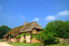 Historic farm house. Rural belgium, historical preserved farm house with reed roof.  Vintage, culture concept Royalty Free Stock Images