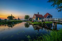 Historic farm houses in the holland village of Zaanse Schans royalty free stock photo