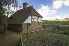 Historic farmhouse building. Tudor Farmhouse in british rural countryside Stock Images