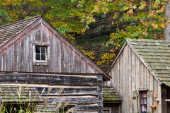 Historic Farmhouse and grist mill wooden structures stock photos