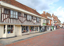 Historic faversham high street. Photo of historic faversham high street showing shops with exposed beams. photo ideal for showing historic towns and buildings stock images