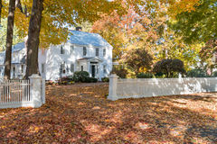 Historic Federal  Home. Historic federal style home with a white picket fence in Deerfield, Massachusetts Stock Photos