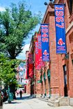 Fenway Park Banners. Historic Fenway Park, Downtown, Boston, MA.  Home of the Boston Red Sox Stock Images