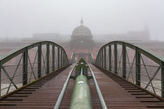 Historic fish market of Hamburg during a cold foggy winter day Royalty Free Stock Photography