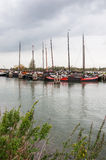 Historic fishing ships moored in the Netherlands Stock Images