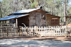 Pioneer log cabin Home. Pioneer log cabin Home on display  at the Knap In Prehistoric Arts Festival in Ocala, Florida on Feb. 20, 2016 Royalty Free Stock Photo