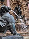 Historic Fontaine Saint-Michel, Paris, France. The historic fountain, Fontaine Saint-Michel, Place Saint-Michel, Paris, France, with bronze statues and flowing stock photography