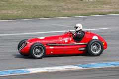 Historic formula  one car, Maserati 4CL. HOCKENHEIM, GERMANY - APRIL 14 2012: Georg Kaufmann in the Maserati  4CL, formula one car from 1948 at the Hockenheim Royalty Free Stock Images
