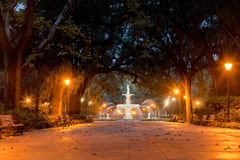 Historic Forsyth Park Fountain Savannah Georgia US. Forsyth Park Fountain famous landmark at night in Historic District of City of Savannah, Georgia, USA royalty free stock photography