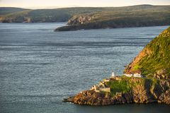 Historic Fort Amherst and lighthouse at The Narrows leading to S stock photos