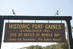 Historic Fort Gaines Alabama. The entrance sign at Historic Fort Gaines in Alabama which is the site of the Battle of Mobile Bay Royalty Free Stock Photo