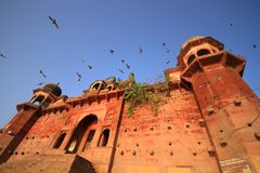 A historic fort by the ghats of River ganges in Varanasi stock photo