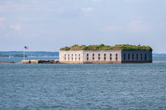 Historic Fort Gorges. In the harbor of Portland, Maine Stock Photo