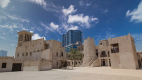 Historic fort at the Museum of Ajman timelapse stock video footage